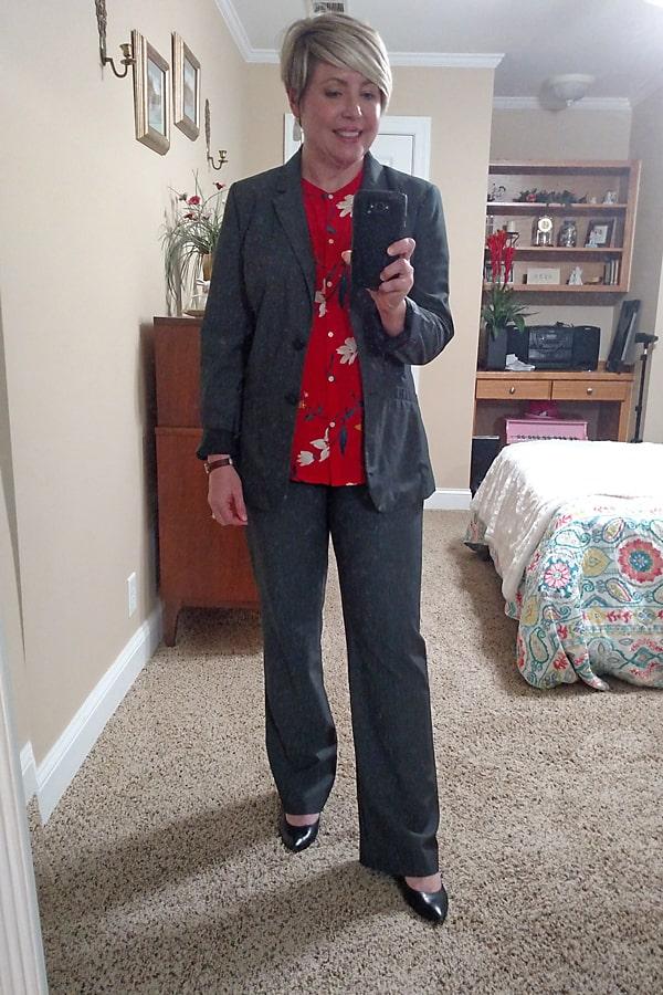 grey suit women's office attire