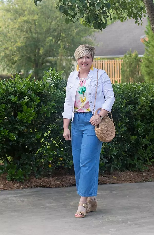 wide leg chambray pants and white denim jacket outfit