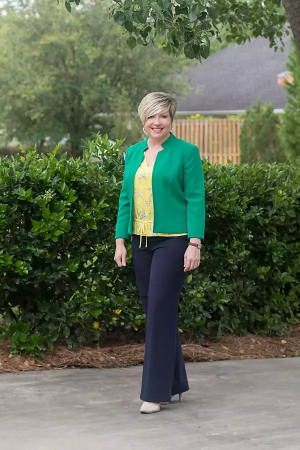 women's office outfit with yellow blouse