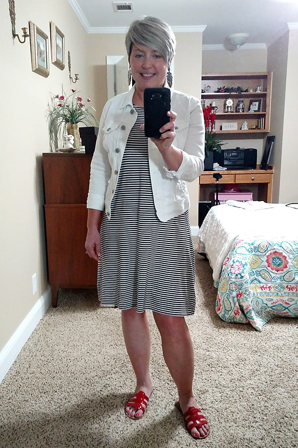 striped dress with denim jacket outfit