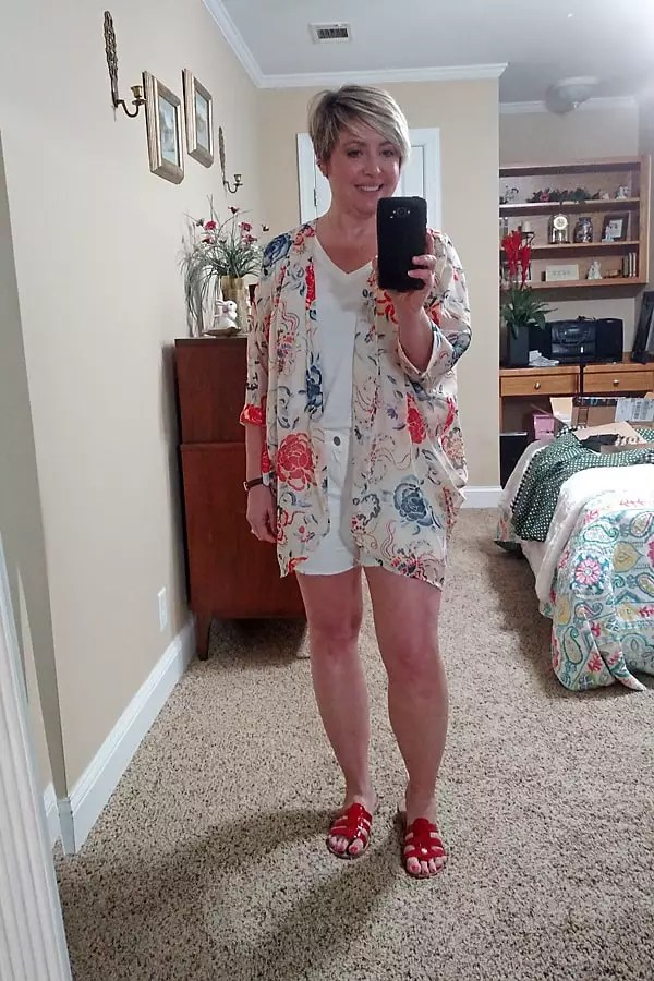 casual summer outfit with kimono and shorts