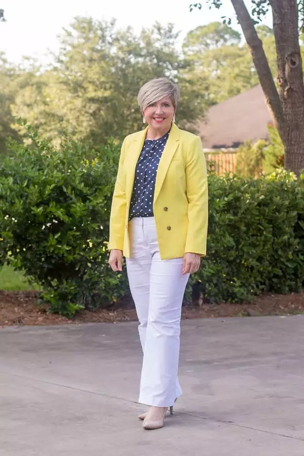 Yellow is one of the best bright colors for summer.  A yellow blazer makes a great office outfit.
