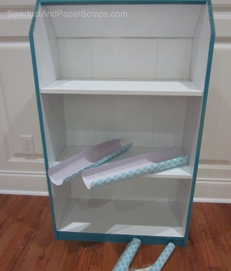Turn a bookshelf into a dollhouse