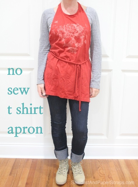 Cheap and easy  apron tutorial made from cutting a t-shirt.  No sewing.