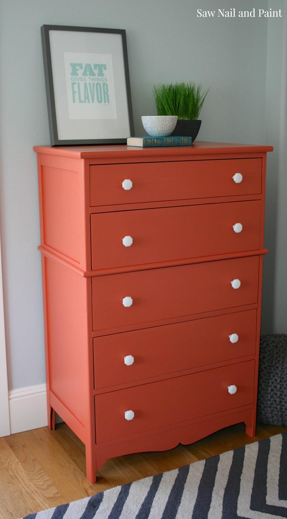 orange dresser with milk glass knobs  before and after  saw nail  - orange dresser side