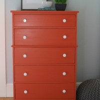 Orange Dresser with Milk Glass Knobs – Before and After