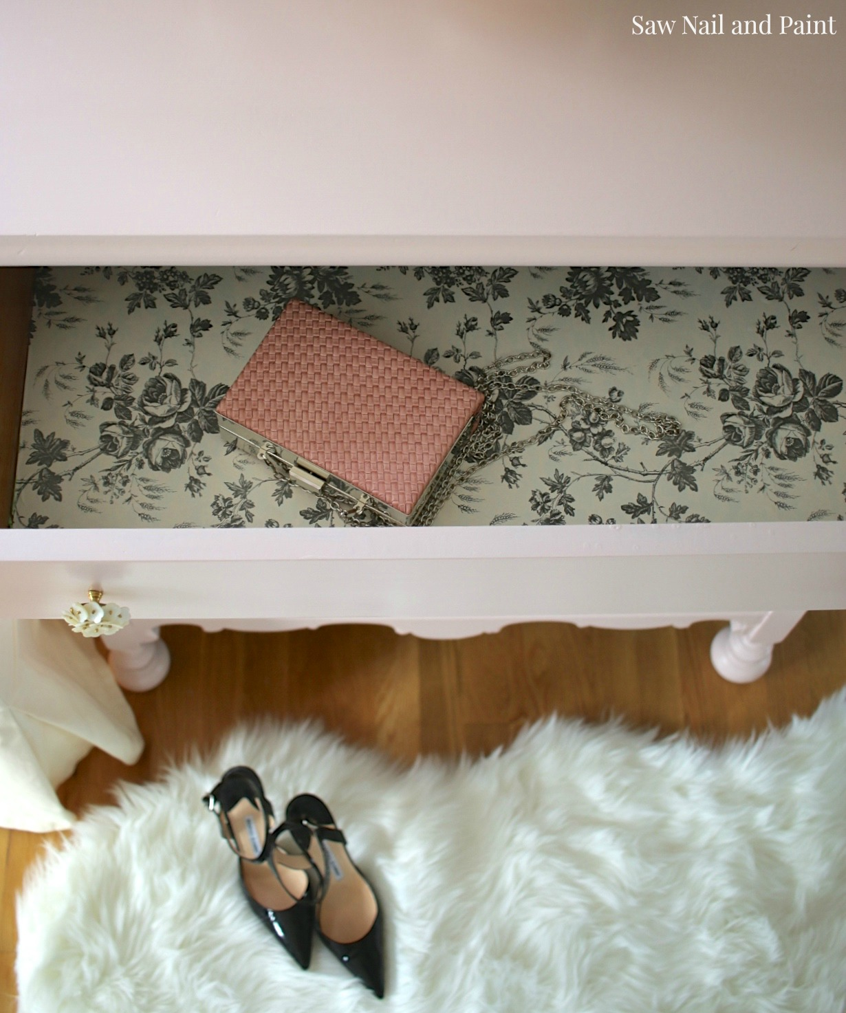 Blush dresser drawer interior