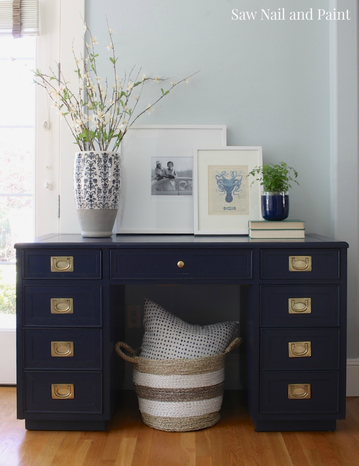 Navy Blue Campaign Style Desk Saw Nail And Paint