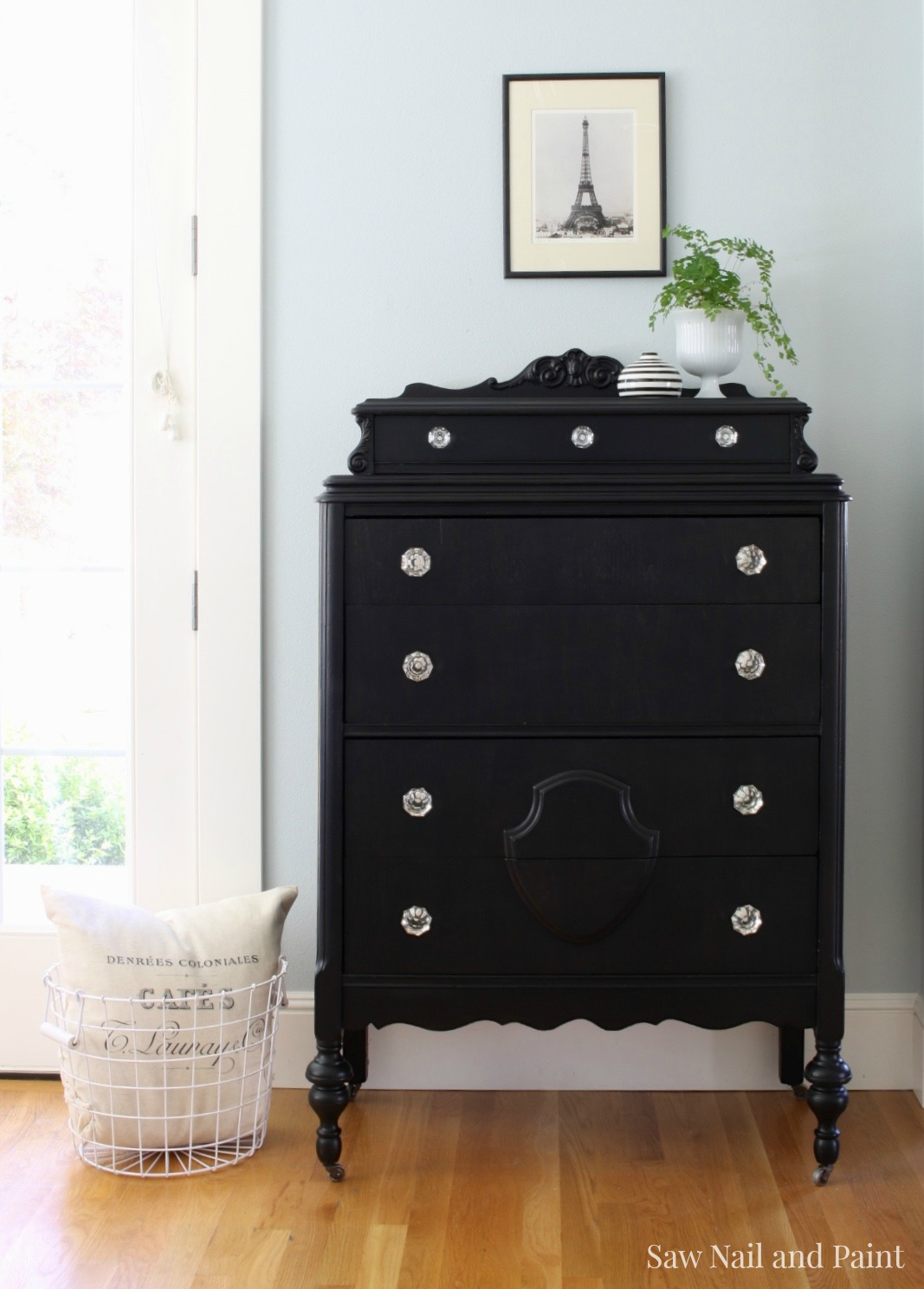 Vintage Dresser In Lamp Black Saw Nail And Paint