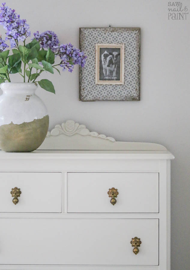 Vintage dresser before and after makeover with Fusion Mineral Paint in Champlain