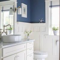 Navy Blue and White Bathroom