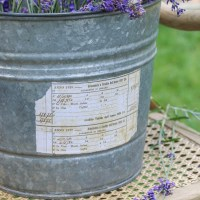 Repurposed Metal Bucket with Vintage Label