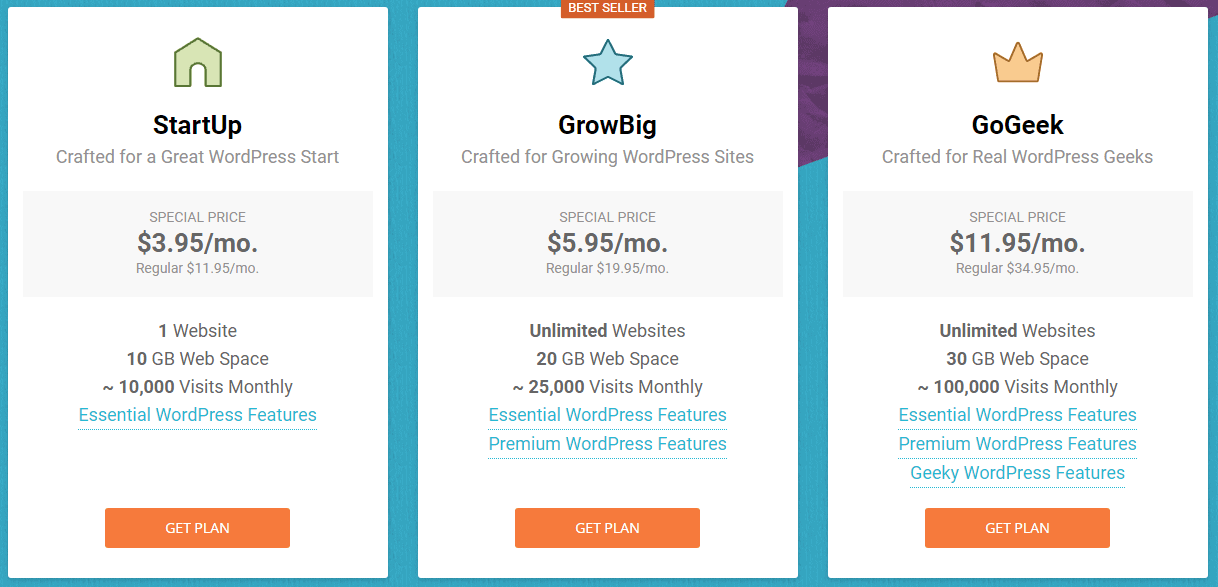 Siteground Hosting plan