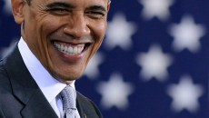 US President Barack Obama smiles during