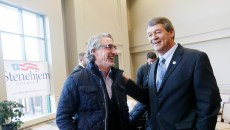 North Dakota Attorney General Wayne Stenehjem, right, talks with Doug Burgum, left, during a campaign kick-off event at the North Dakota State University Alumni Center in Fargo, N.D. on Tuesday, November 24, 2015.  Carrie Snyder / The Forum