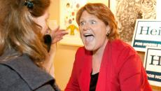 North Dakota Senator elect Heidi Heitkamp (right) reacts to seeing her sister Thomasine Heitkamp at a rally Thursday, Nov. 8, 2012  in Grand Forks, N.D. The two sisters hadn't seen each other since Heidi had won election to the U.S. Senate.JOHN STENNES