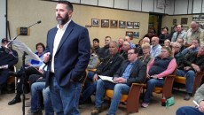 Travis Kelley, regional vice president for Target Logistics, speaks Tuesday, Nov. 10, 2015, in Williston, N.D., during a City Commission public hearing on closing crew camps. Amy Dalrymple/Forum News Service