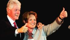 Former President Bill Cliniton and U.S. Senate candidate Heidi Heitkamp give thumbs up to supporters during a rally Monday, Oct. 29, 2012, at the Fargo Civic Center. Dave Wallis / The Forum