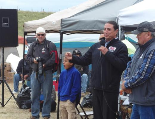 Standing Rock Sioux Tribe Chairman Dave Archambault II greets the Dakota Access Pipeline opponents Thursday, Aug. 25, 2016, who are camped north of Cannon Ball, N.D. Amy Dalrymple/Forum News Service