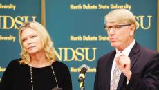 North Dakota State Board of Higher Education chair Kirsten Diederich and interim chancellor Larry Skogen talk about the results of the Higher Learning Commission Advisory Team Report at North Dakota State University's Memorial Union on Tuesday, September 2, 2014, in Fargo, N.D.  Carrie Snyder / The Forum