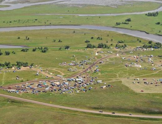 TOM STROMME/Tribune Aerial photograph taken Saturday, August 20, 2016 over protest camp on the Standing Rock Indian Reservation in North Dakota. Camp shown is called the Seven Councils Camp or the Overflow Camp. There is another much smaller camp that has been occupied since April and called the Camp of Sacred Stones. The people who are in the camps are protesting construction of the Dakota Access Pipeline. A spokesperson for the protesters, community organizer Joye Braun, said there are more than 2000 people living in the two camps.