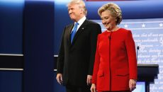 Republican U.S. presidential nominee Donald Trump and Democratic U.S. presidential nominee Hillary Clinton take the stage for their first debate at Hofstra University in Hempstead, New York, U.S. September 26, 2016. REUTERS/Jonathan Ernst