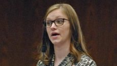 TOM STROMME.TribuneRep. Kylie Oversen (D-Grand Forks) urged members to vote in favor of SB 2279 during floor debate on Thursday afternoon.