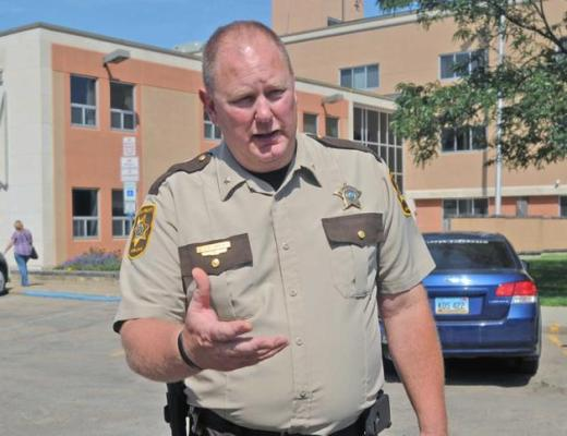 TOM STROMME/Tribune Morton County Sheriff Kyle Kirchmeier says as of Wednesday all work on the Dakota Access Pipeline south of Mandan has been halted for an indefinite time.