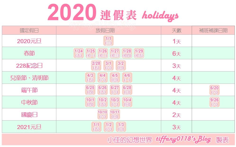 2020年(民國109年)連續休假行事曆/2020年過年(春節)的請假攻略/共有6大連休/109年農曆春節年假