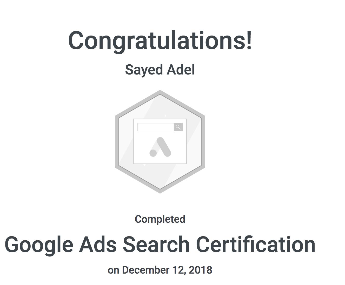 My Google Ads Certificate