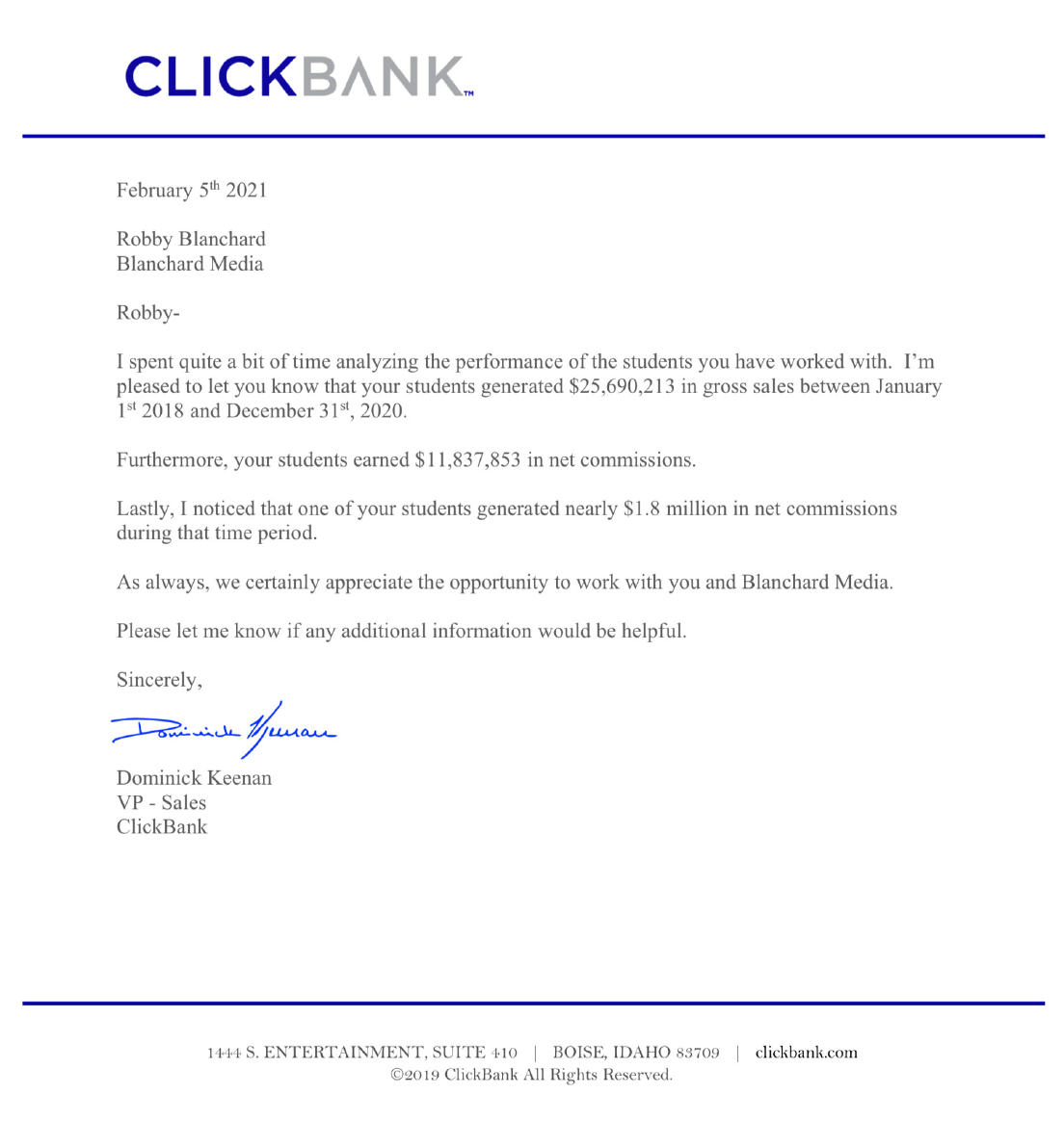 Robby Blanchard Clickbank letter