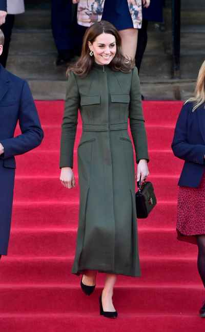 Military oil painting long coat from Alexander McQueen worn by Kate Middleton