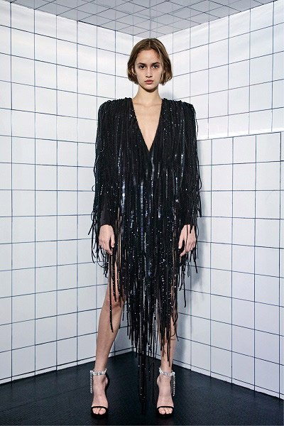 Black evening dress in sequins and fringes, Alexandre Vauthier