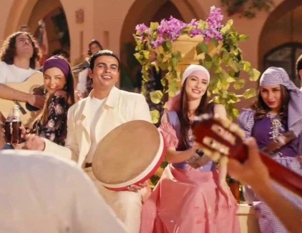Hossam Mostafa also appeared in the advertisement with Luke Amr Diab in the song Nour Al-Ain