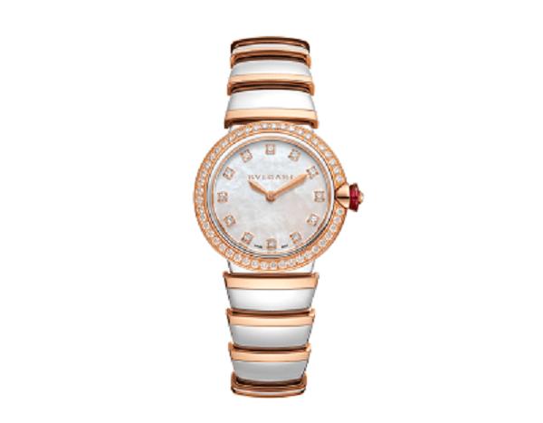 ساعة بولغاري لوتشيا من الذهب الوردي والماس