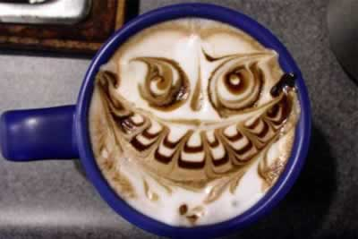 latte art, latte, cup face, evil latte,