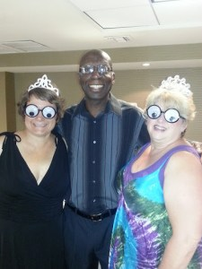 Members of SayWhatClub wearing funny glasses at a SWC convention