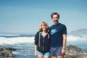 m and husband in their 20s somewhere on the Oregon coast. She can't hear.