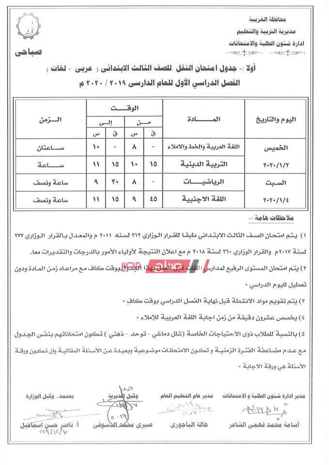 جدول امتحانات الترم الأول جميع المراحل محافظة الغربية 2019 2020