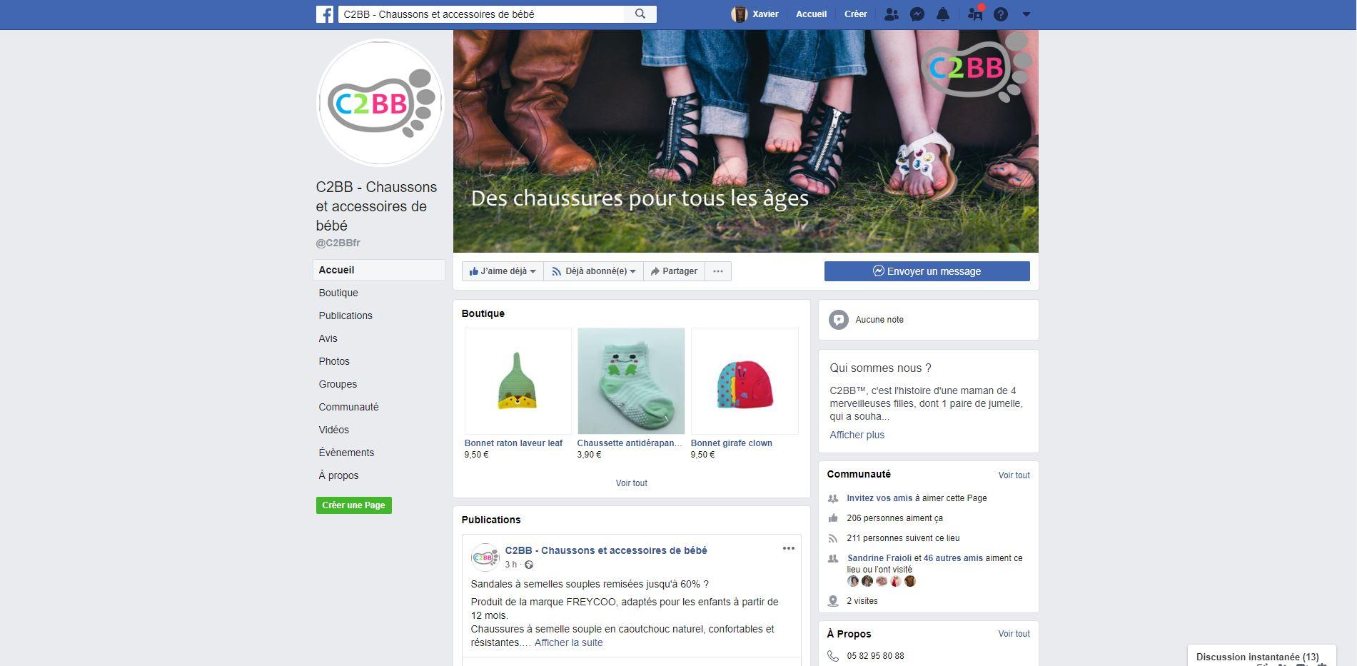 Chaussures, chaussons et chaussettes sur facebook