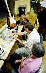 Harold shows how to use GarageBand. (Photo: Robert Winokur)