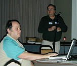 Left: Morri and Brian present Microsoft Office X. (Photo: Robert Winokur)