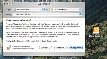 Starting a backup with SuperDuper!