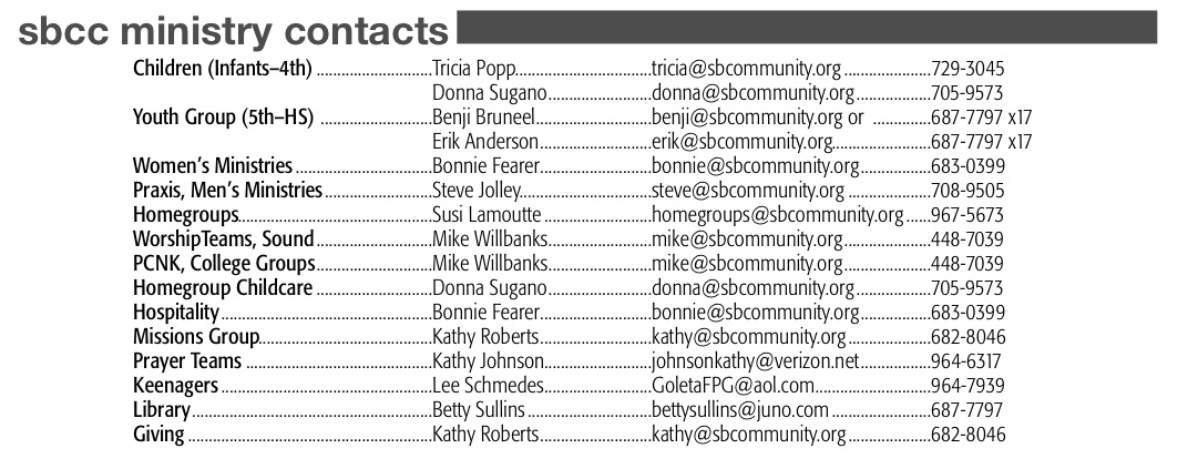 SBCC Ministry Contacts