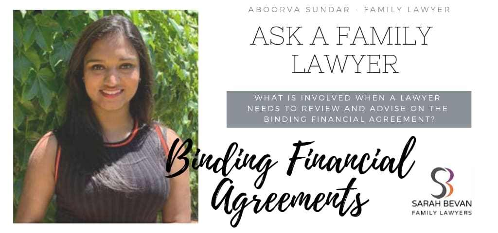 Lawyer involvement Binding Financial Agreement - Family Lawyer Sydney