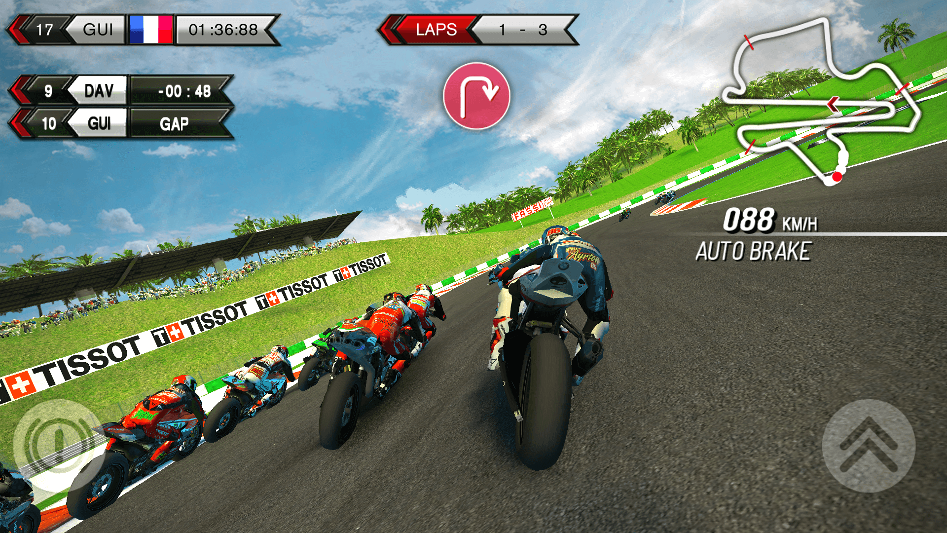 Master 4 game modes including Championship, Quick Race, Time Attack and Challenge, where you race against your friends' and/or real SBK riders' best laps
