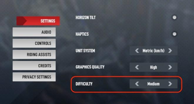 A screenshot of the Settings menu tab