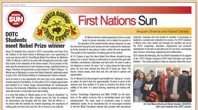 SBRC welcomes Dakota Ojibway Tribal Council / Nobel Laureate