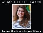 Phil Womble Ethics Award: Lauren McAlister, Laguna Blanca