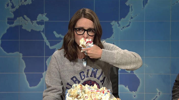 Image result for Images of Tina Fey eating Cheesecake